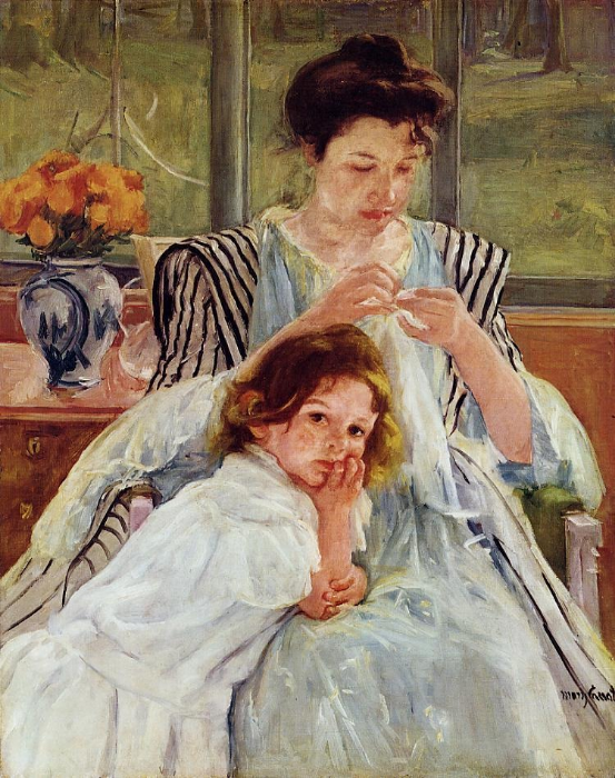 Young Mother Sewing , Mary Cassatt, 1900