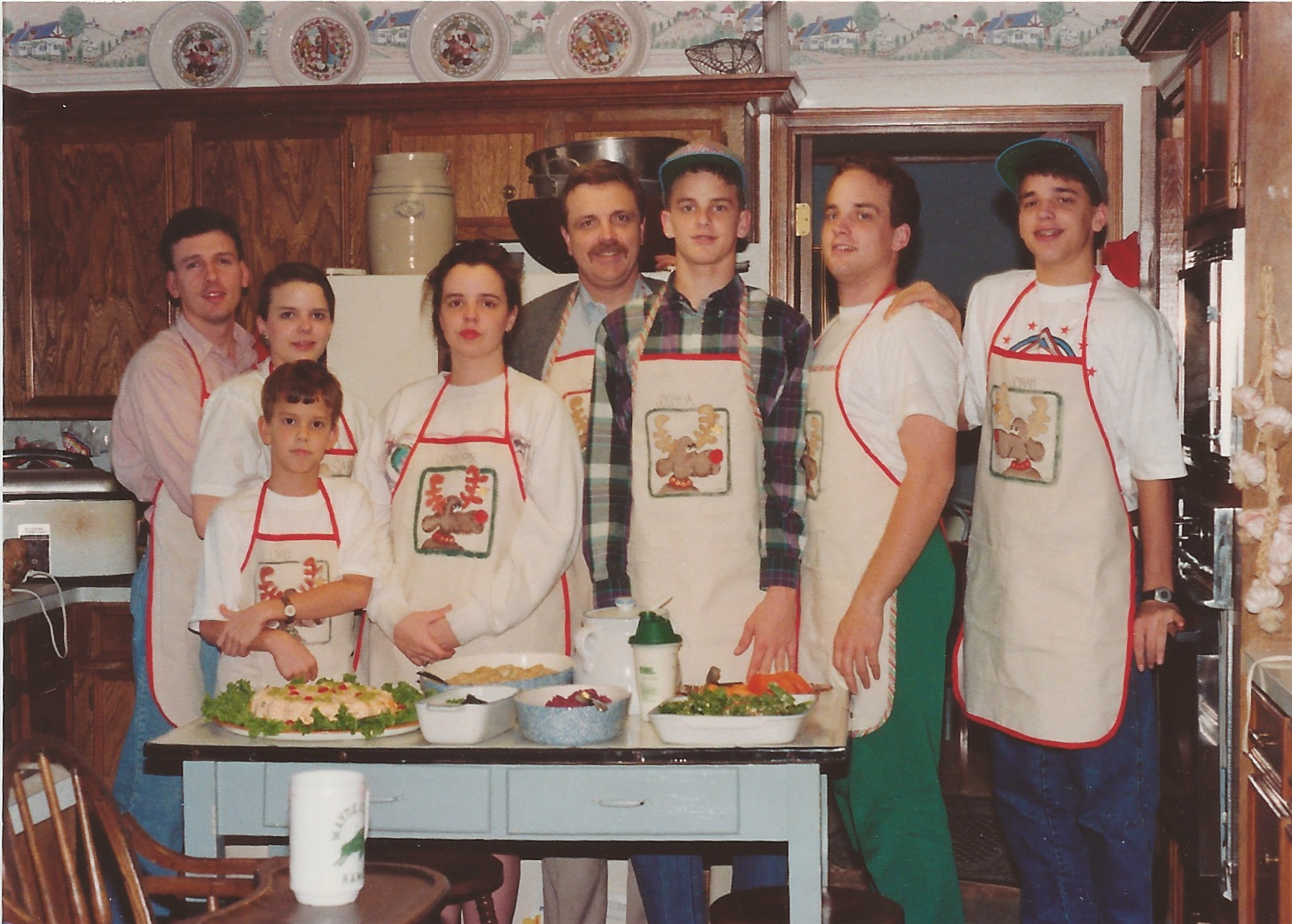 Here are my five siblings and my Dad. I'm on the far left with Sterling -- the first Christmas after we were married. In my mind we were more hip. But maybe not.