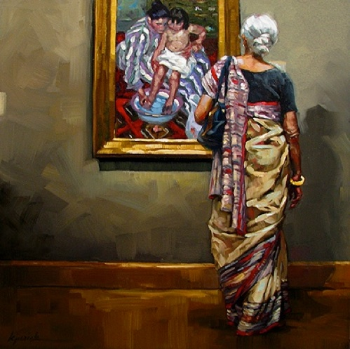"""""""The Sari"""" by  Karin Jurick . I posted another of her paintings this week with  The Tango post . I think the juxtaposition of the art and the spectating people in her Museum Patrons series is whimsical and terrific."""