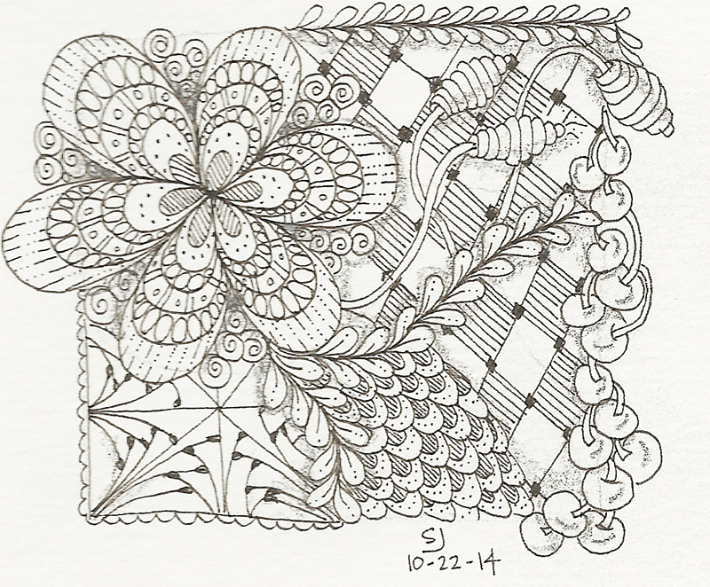My zentangle. I know it looks like an 8th graders marginalia, but it helps me feel less anxious. Weird, I know.