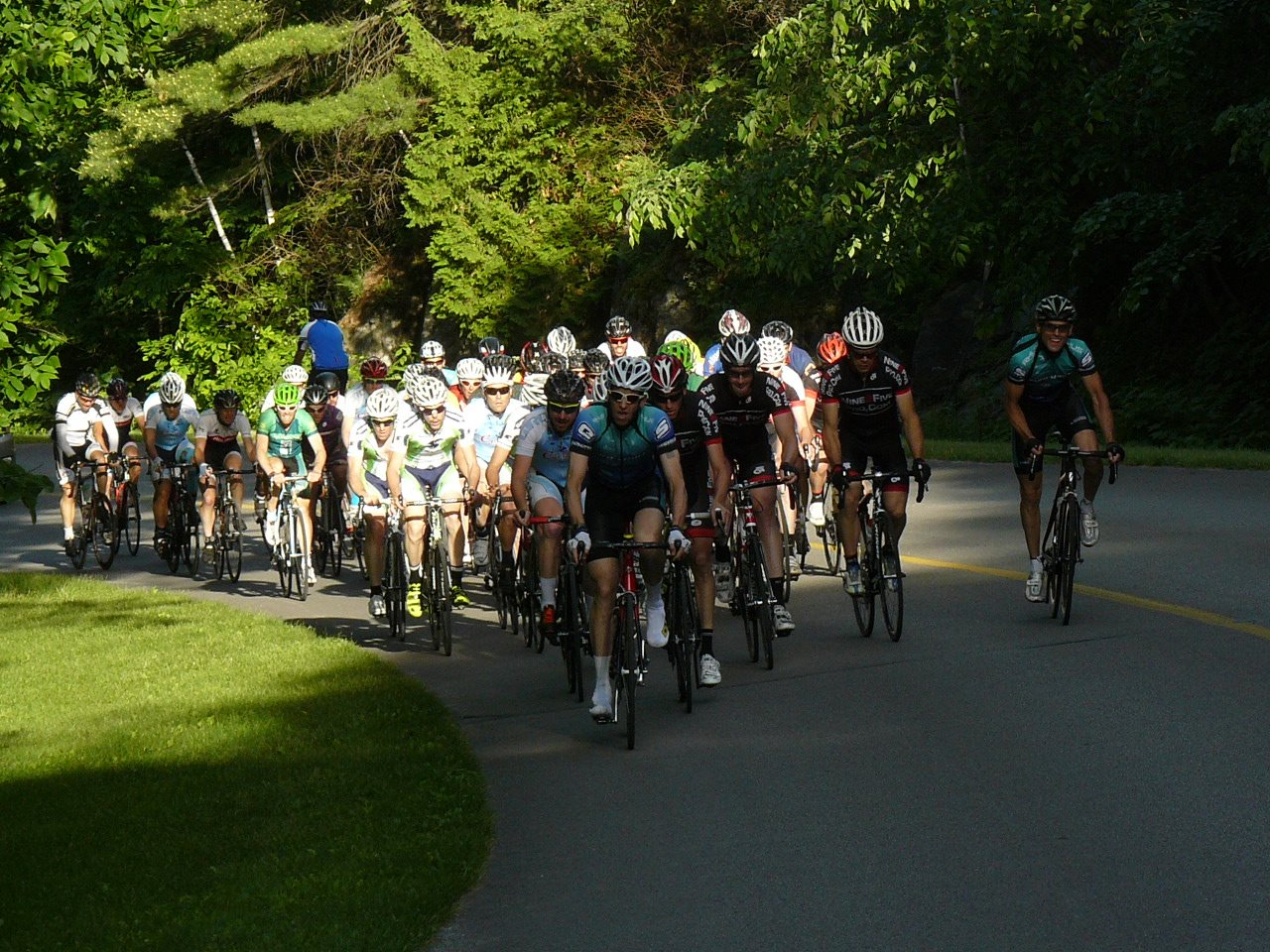 Pack tackling Pink Lake Climb.Photo credit goes to Doug Corner from Bike Race Ottawa