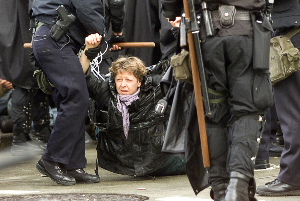 WTO riots, Seattle: demonstrator arrested