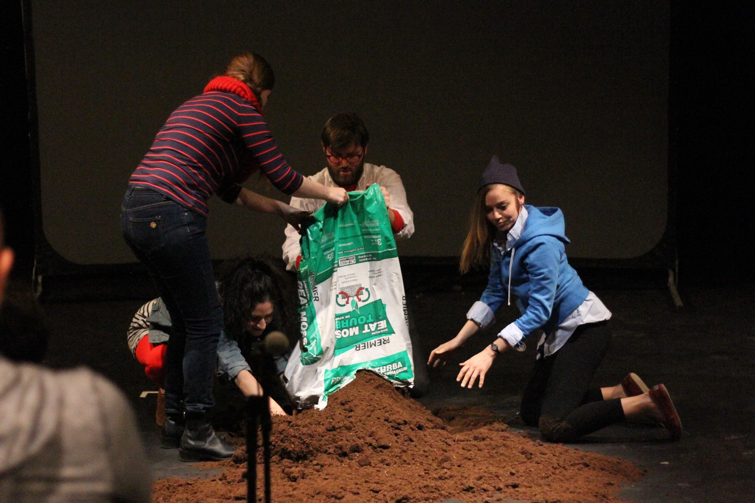Pictured: Lisa Szolovits, Rebecca Posner, Eric Magnus, and Cara Juan. Photo by Helen Richardson.