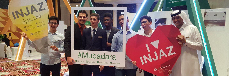 Participants pose for social media coverage during Mubadara 2015.
