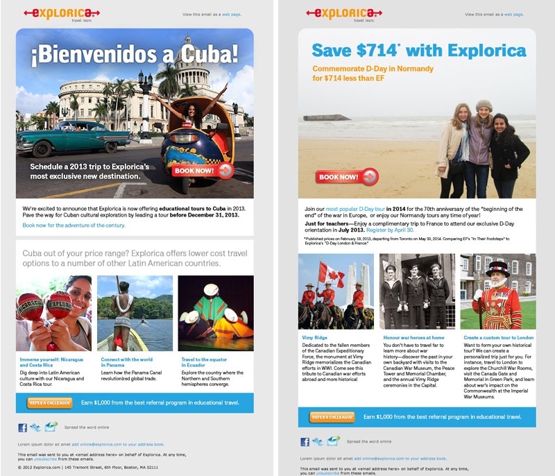 Cuba and other new tours announcement and Canadian war history promotion.