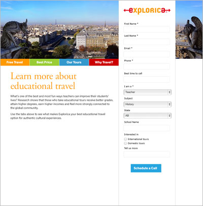 Microsite landing page.