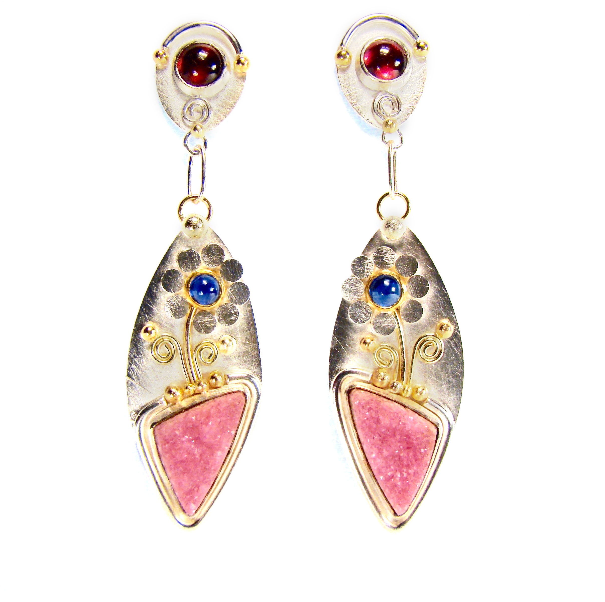 Pink Druze Earrings #791.jpg