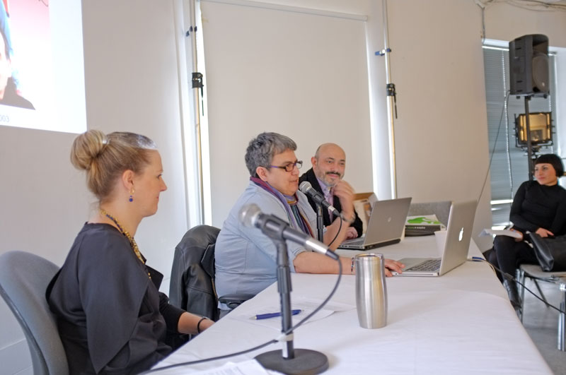 Members of the Academic and Curatorial View panel: (from left) Andrea Fitzpatrick, Rosalie Favell, and Walid El Khachab,