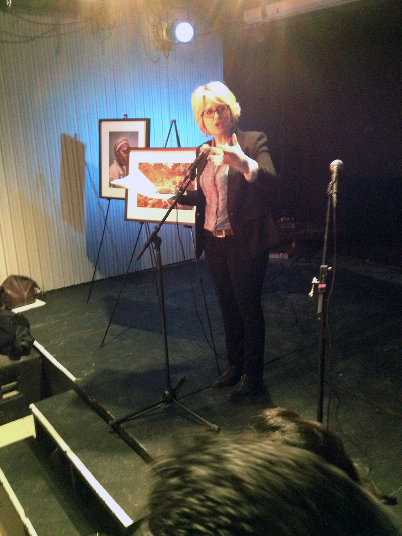 Lucy van Oldenbarnveld of CBC Television served as MC for the night and conducted a successful live auction of framed photographs from the exhibition.