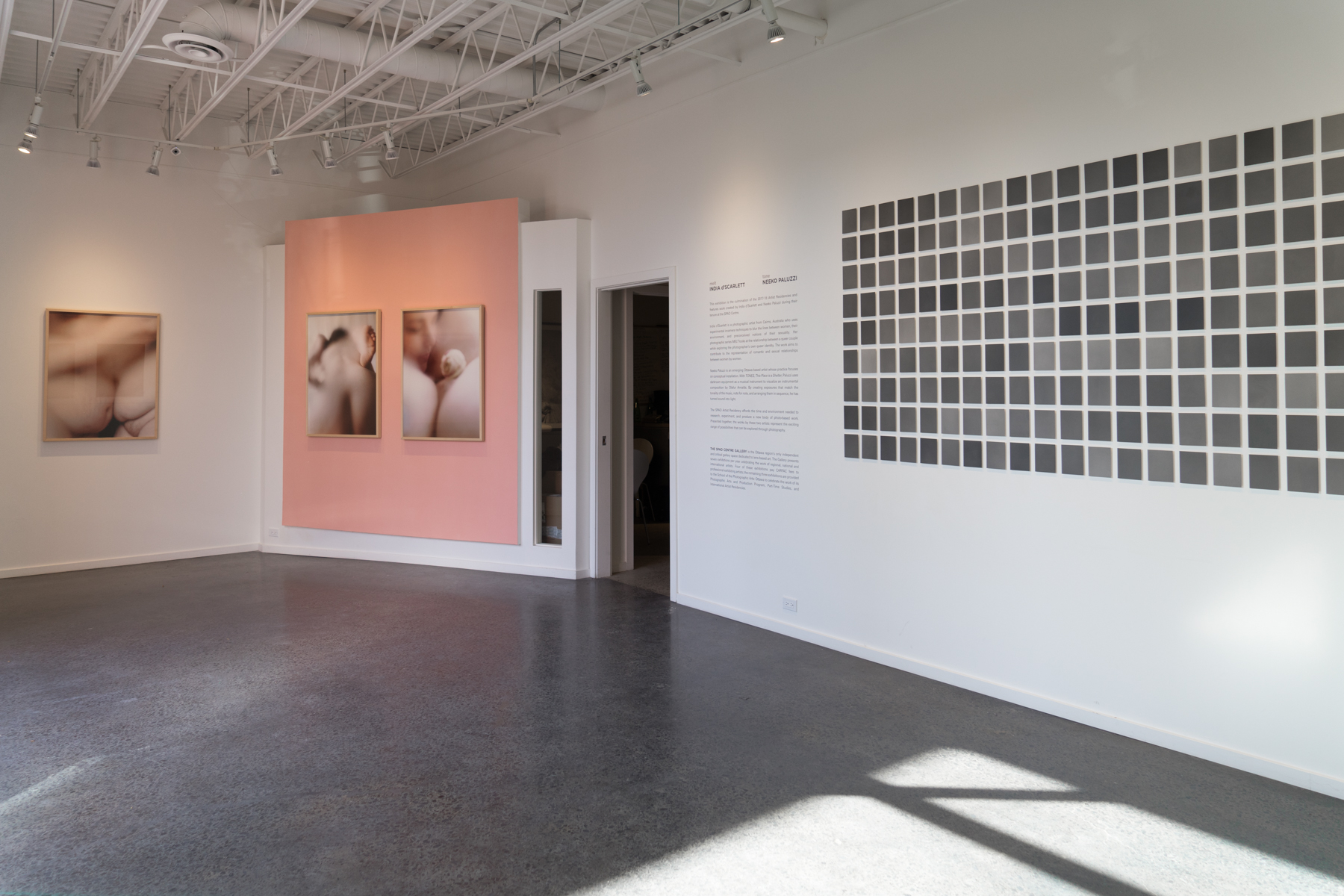 SPAO's Artist in Residence exhibition, 2018, featuring work by India d'Scarlett and Neeko Paluzzi (installation view)