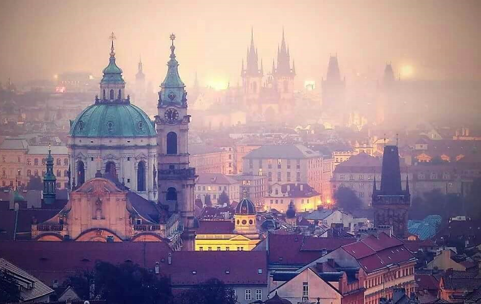 The rooftop terrace view from our beautiful apartments in Prague, Czech Republic.