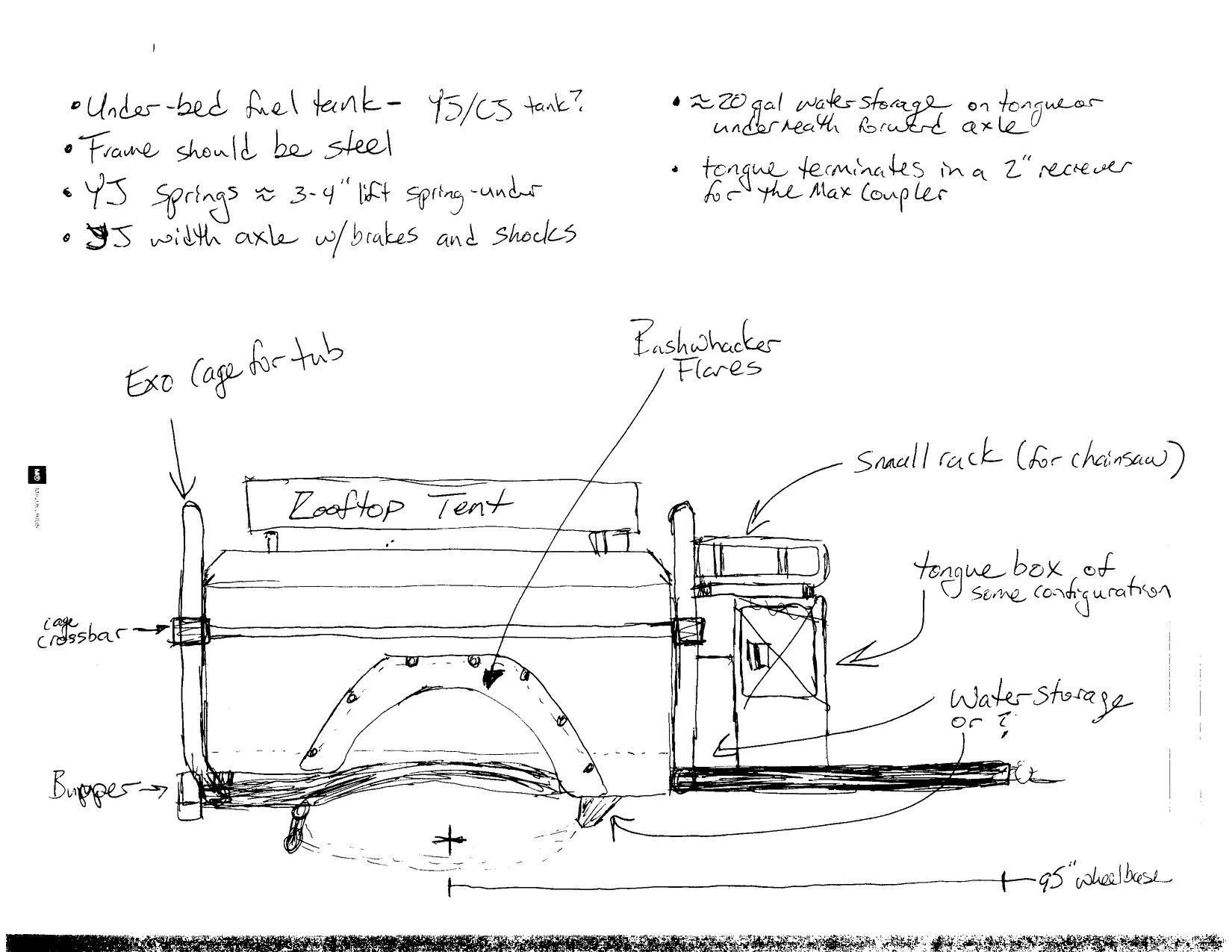"""Original design sketch for the """"new"""" trailer."""