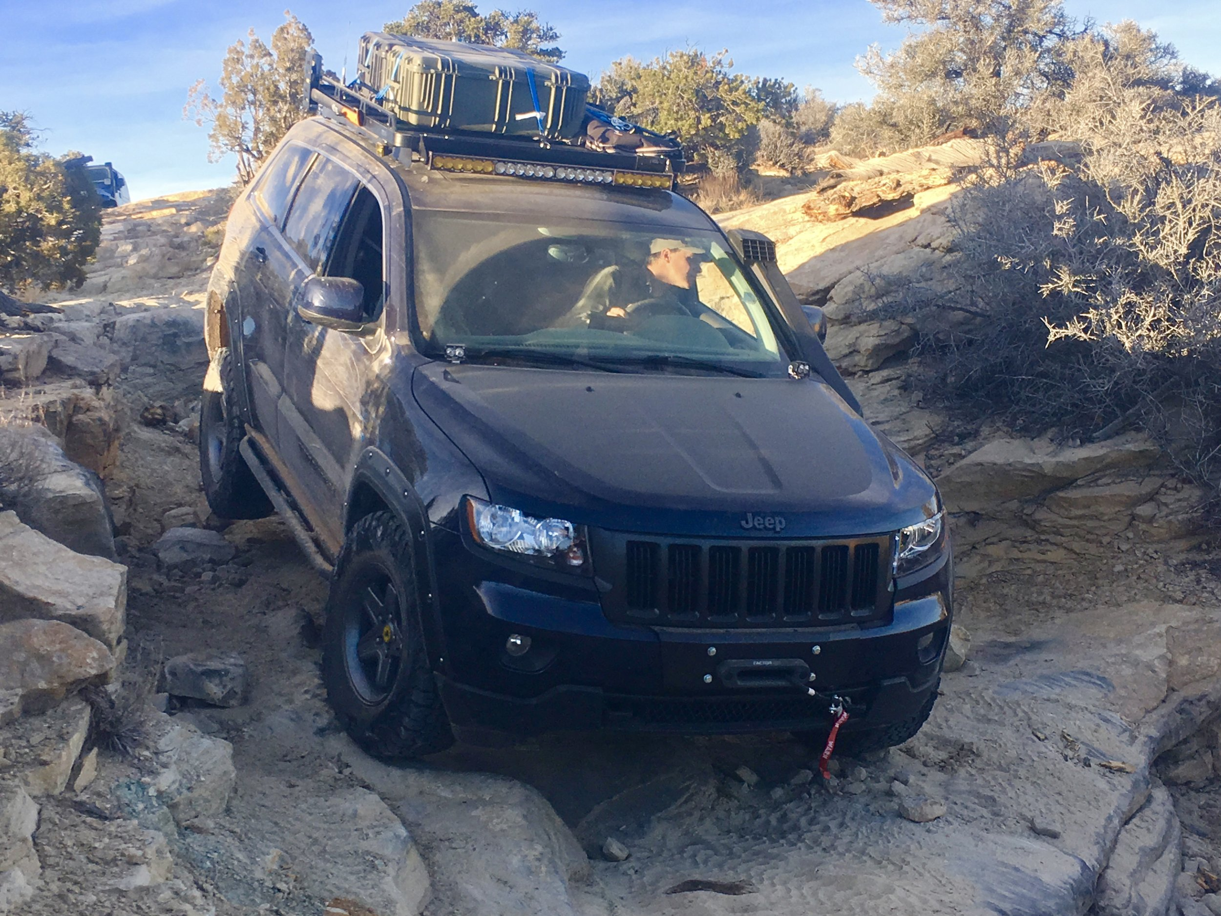 """Navigating the """"Devil's Racetrack"""" trail in the San Rafael Swell of Utah. A BLM black-rated route."""