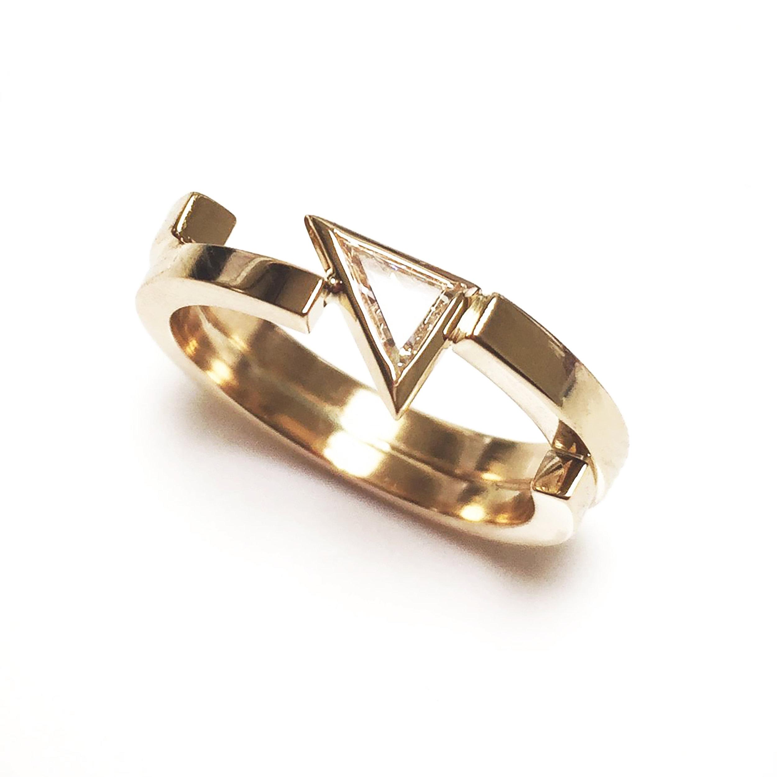 Tilda Biehn Brooklyn NYC Custom Engagement Ring Triangle Diamond