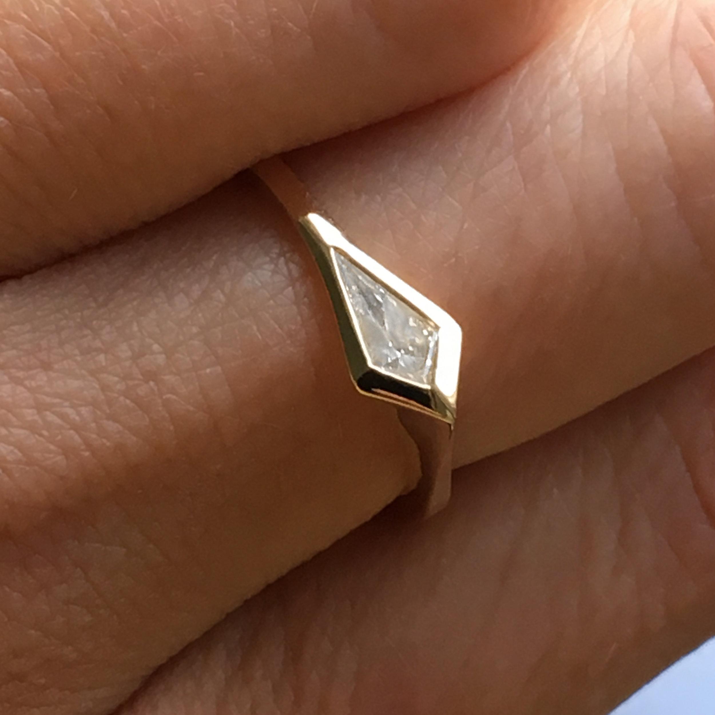 Tilda Biehn Brooklyn NYC Custom kite diamond engagement ring