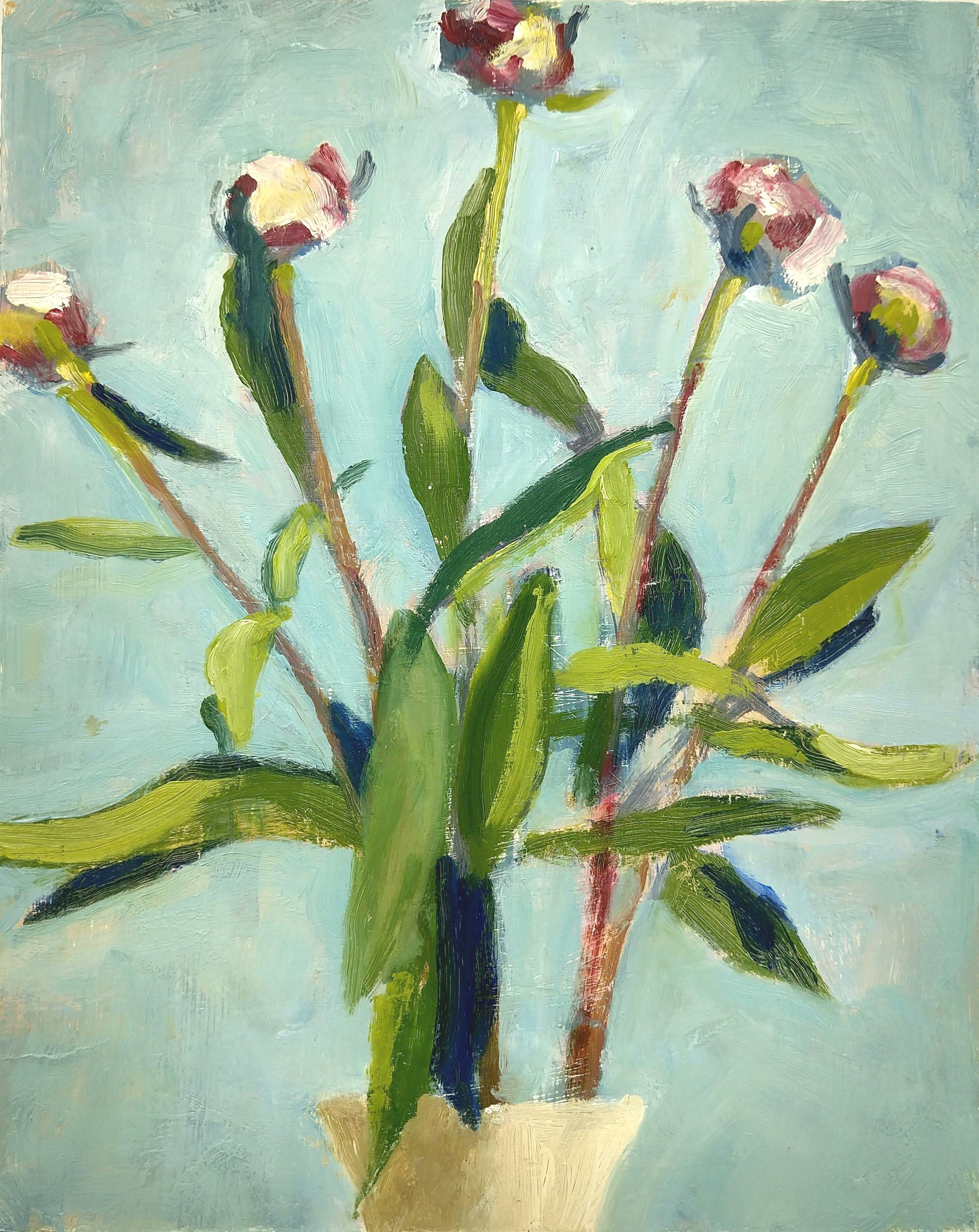 Five Peonies, Robert Ross, 10x8 in, oil.jpg