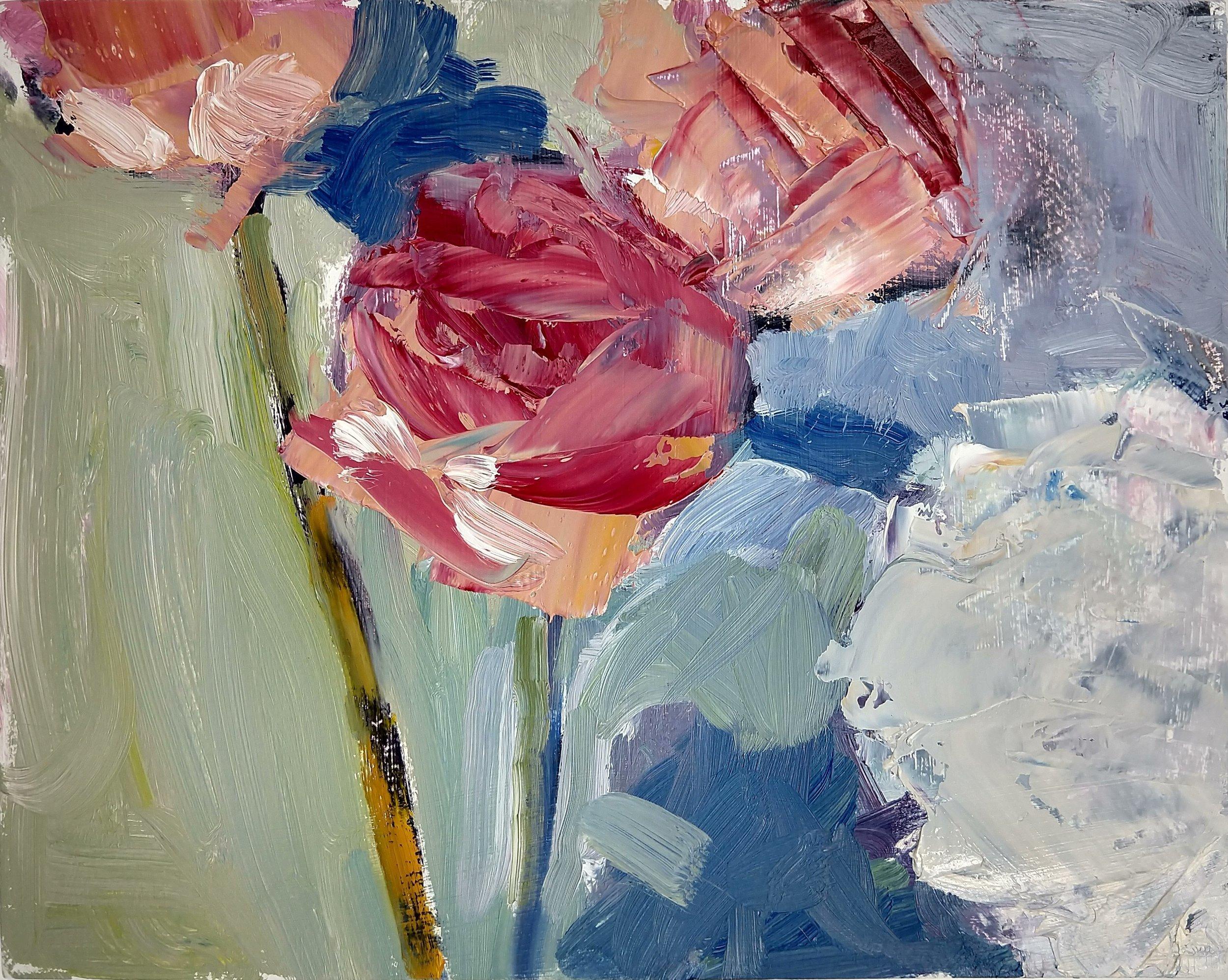 Roses & Hydrangea, Robert Ross, 8x10 in, oil.jpg
