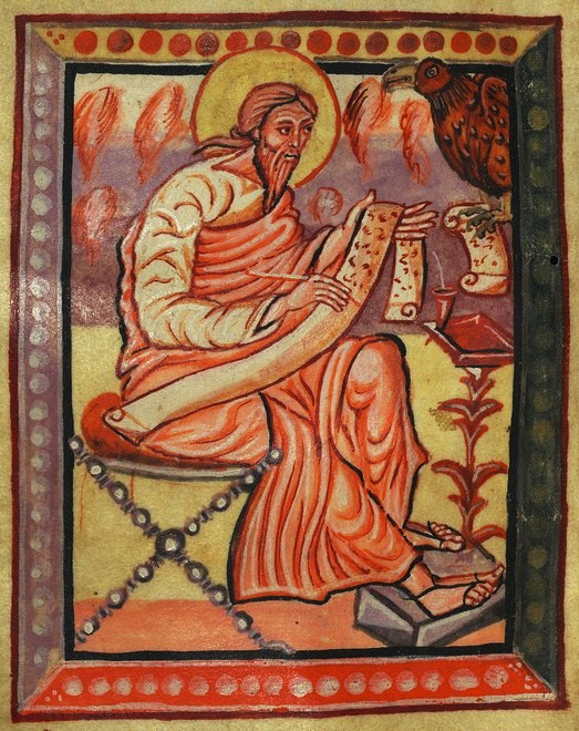 Illuminated Manuscript, Gospels of Freising, Evangelist Portrait of John, Walters Art Museum Ms. W.4, fol.