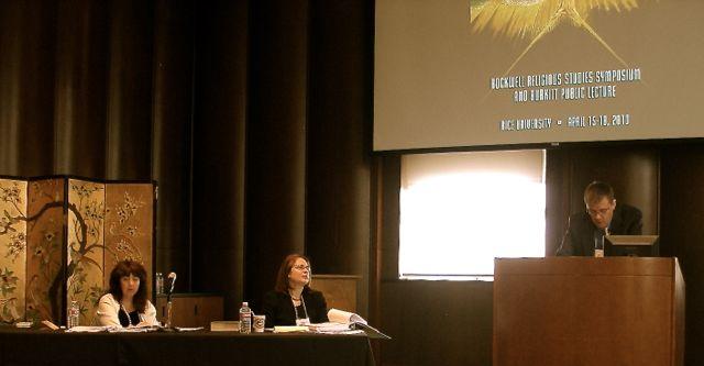 Hidden God, Hidden Histories panel. April DeConick, Kelley Bautch-Coblentz, Andrei Orlov. Photo taken by John Turner.