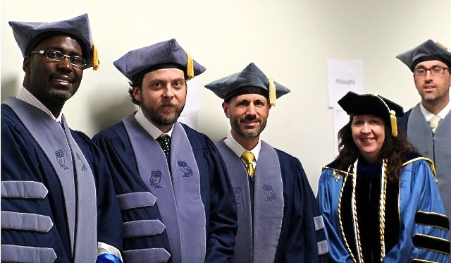 Four of Rice Religious Studies PhD graduates: Dr. Jonathan Chism, Dr. Franklin Trammell, Dr. Daniel Brubaker, Dr. Grant Adamson, and me.