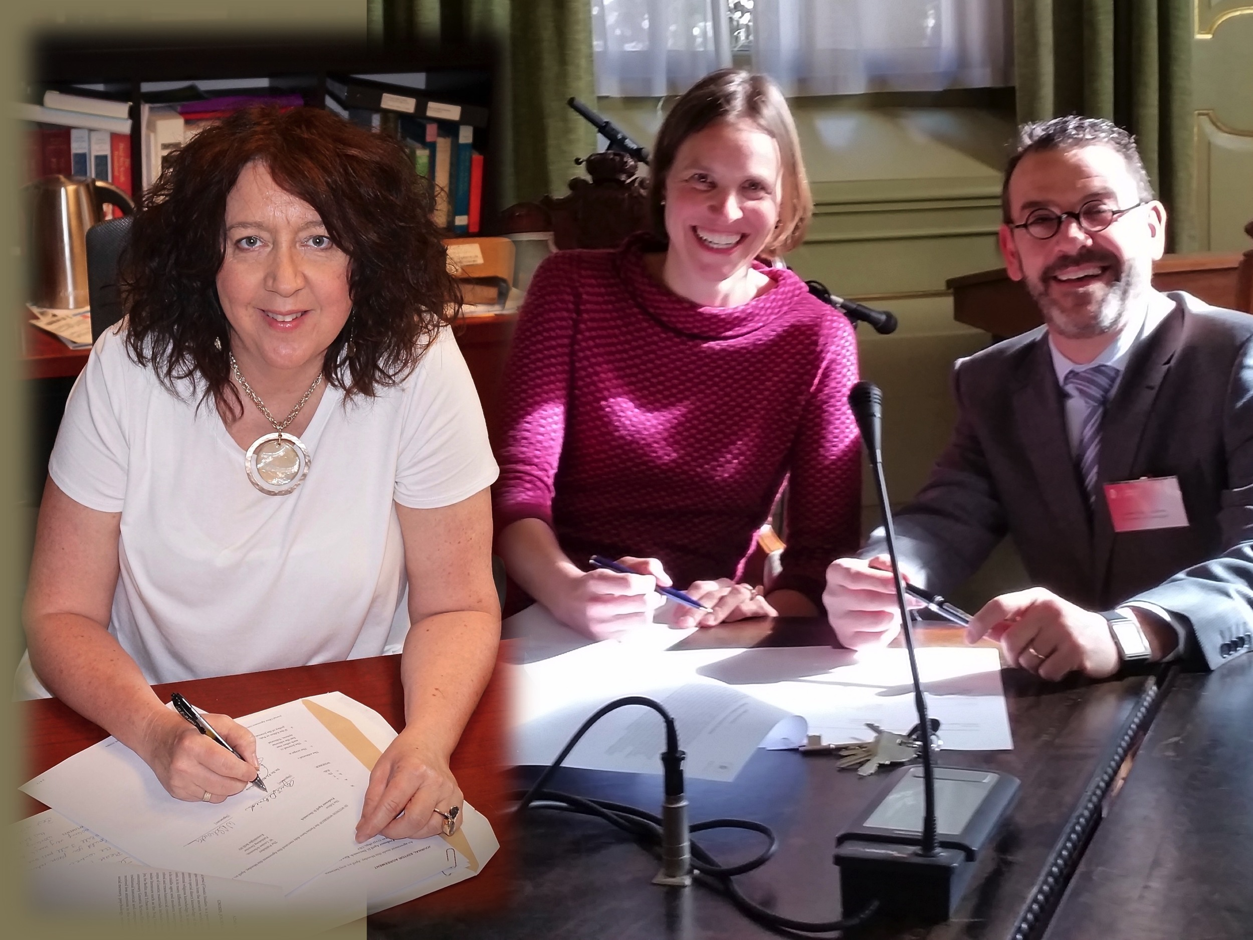 Signing contract for GNOSIS: Journal of Gnostic Studies, with Loes Schouten and Lautaro Lanzillotta, June 2015