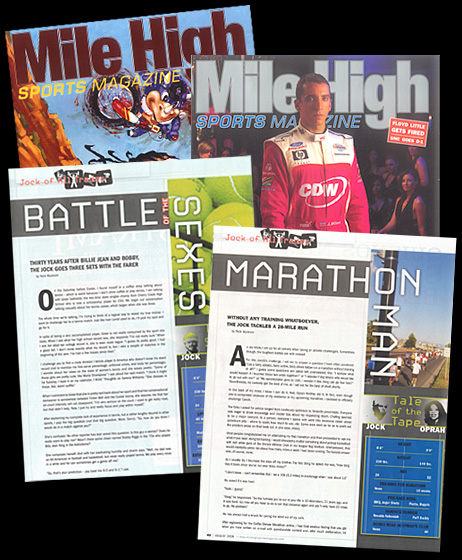 Here are some of my publications over the years in  Mile High Sports Magazine