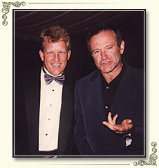 Frank with Oscar Winner Robin Williams at one of several performances at Mr. Williams' homes.