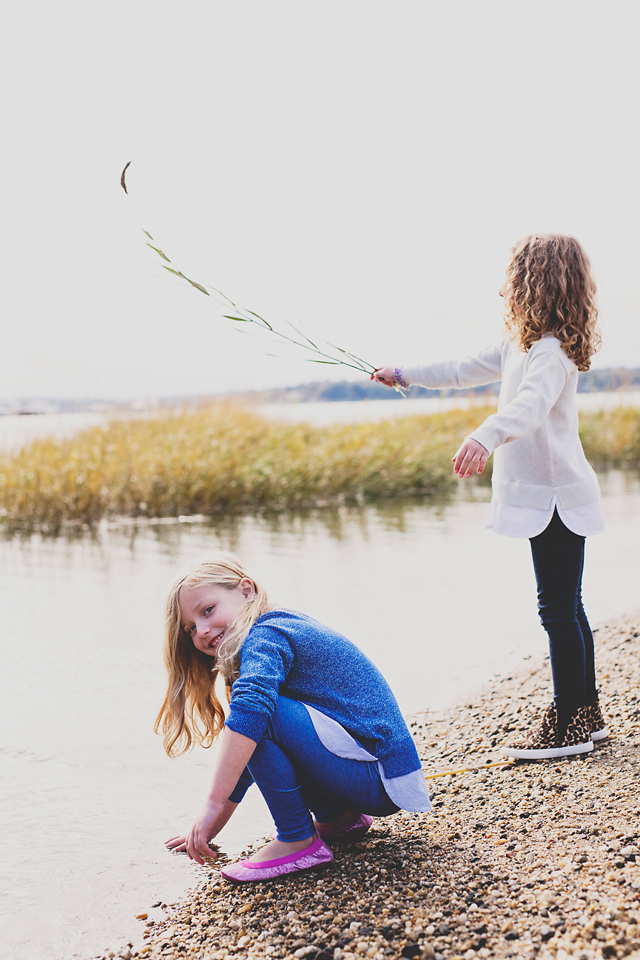 lifestyle photography sisters playing beach haven new jersey