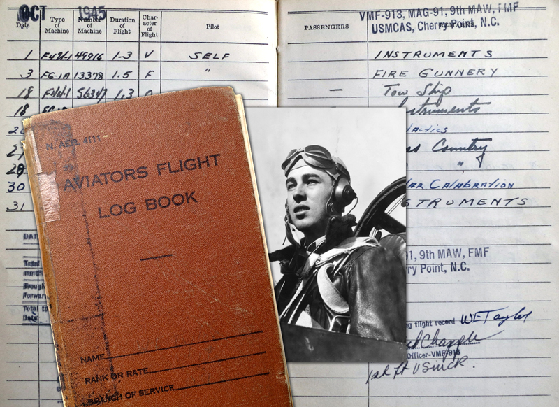 An aviator's logbook gives a touch of verite to the story of this World War II pilot.