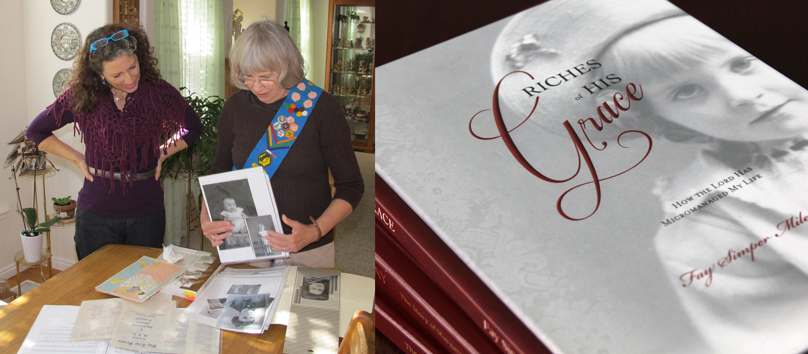 """Alison works with client Fay Miles on her personal history, """"Riches of His Grace."""" On the right is the final product."""