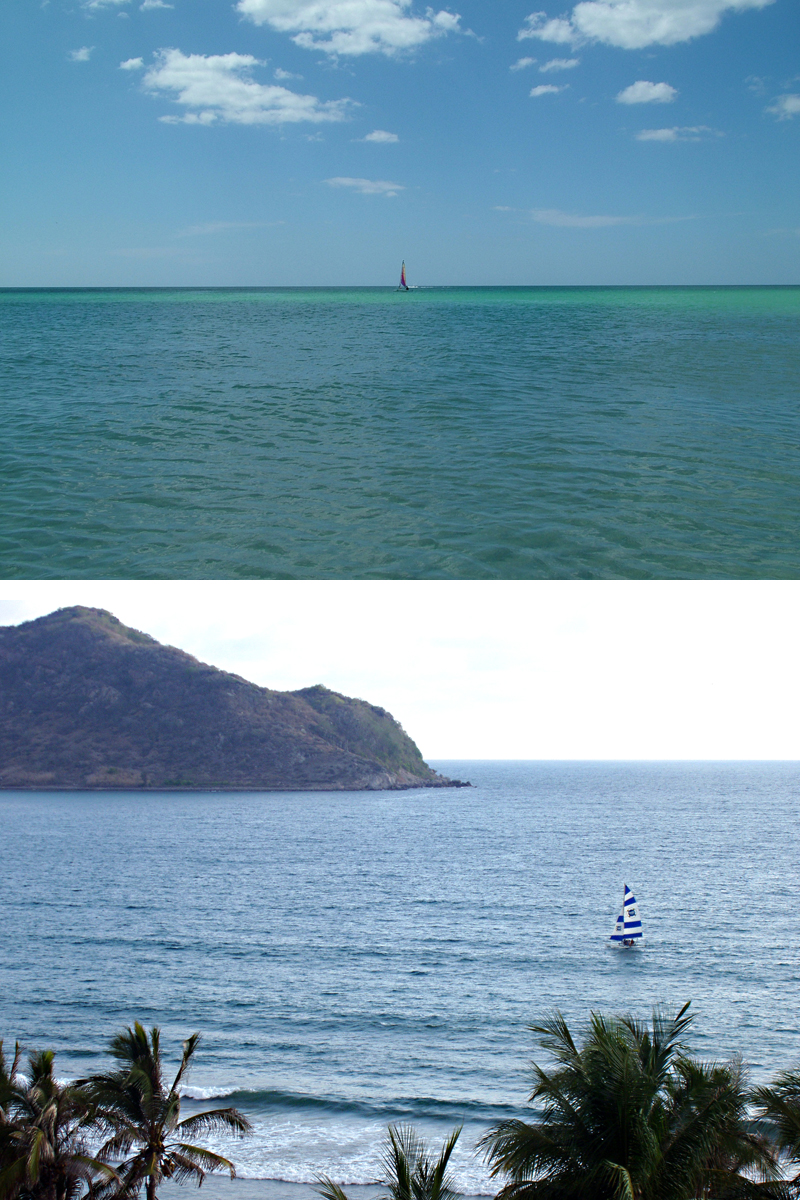 The photo on the top is static in composition. The lower shot uses palms in the foreground and a mountain behind to create a frame for the sailboat, which is attractively placed off-center.