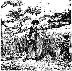 This drawing depicts what life might have been like for my pre-colonial ancestor, log cabin included.
