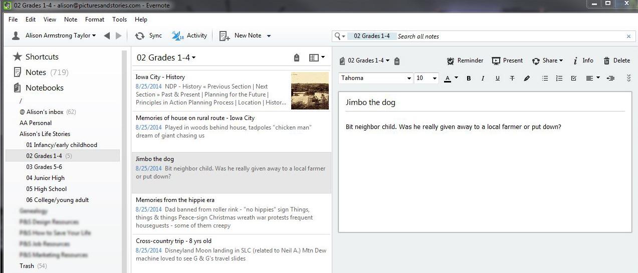 A simple life timeline using Evernote folders.