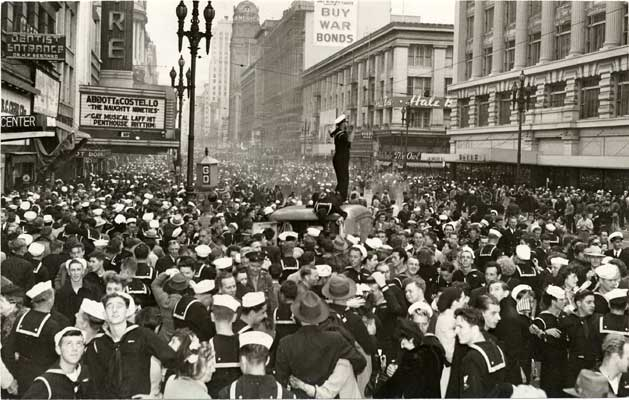 Celebrations in San Francisco at the end of World War II.