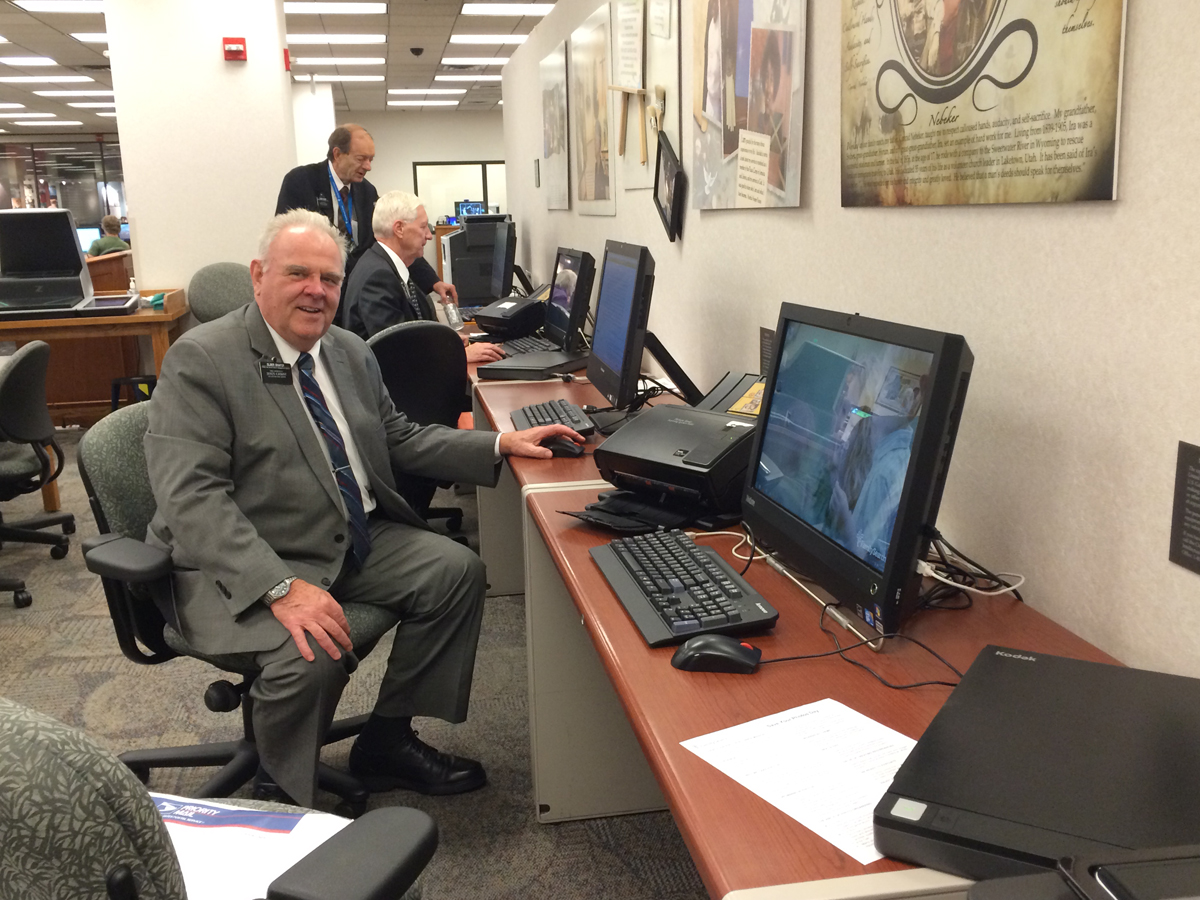 A bank of scanning stations at the Family History Library. Elder Shafer, a volunteer  library worker, was there to help me.