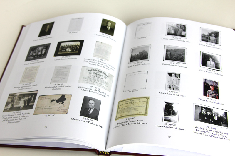 The book contains thumbnails and captions for each item in the collection.