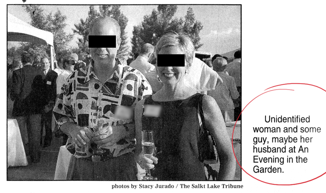 """Not a good caption: """"Unidentified woman and some guy, maybe her husband."""" (I won't even call your attention to the typo in the photo attribution or the lack of a comma after """"husband."""") I blacked out the faces just in case these people want to remain unidentified, or if it isn't her husband after all."""