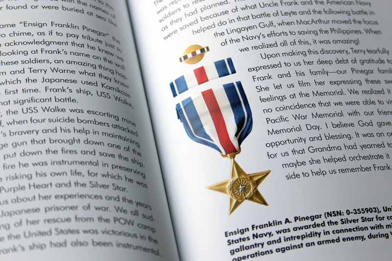 This spread shows how memorabilia can be photographed and added as a graphic element.