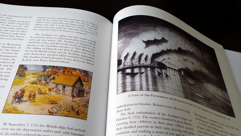These paintings depict the expulsion of French Canadians from northern Canada (modern-day New Brunswick & Nova Scotia) in the mid-eighteenth century. It was a fascinating history and one that was, fortunately for the book, well-documented in art.