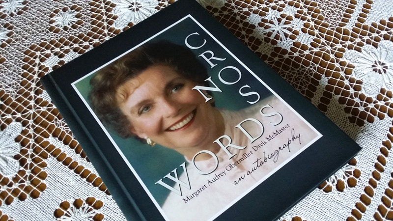"""A lovely book that our client created about her mother-in-law, using our book """"How to Save Your Life, One Chapter at a Time"""" as a guide. We love the clever title, """"No Cross Words,"""" portrayed in crossword-puzzle style!"""