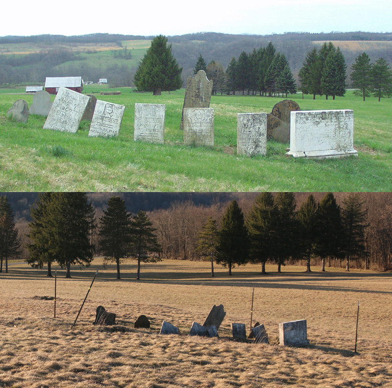 The Armstrong grave in Carmichaels, Pennsylvania; top, 2001. Bottom, 2016. The stones have deteriorated badly and are nearly illegible now.