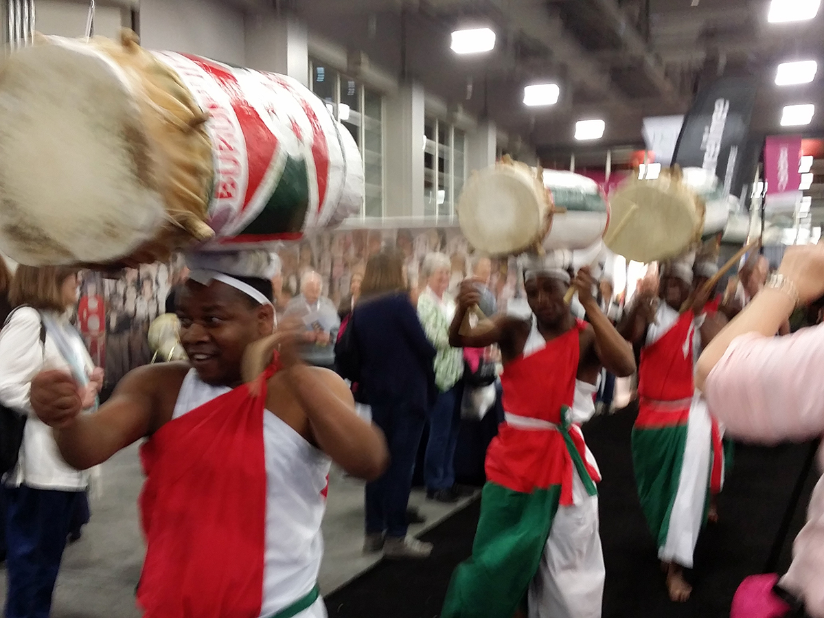 Burundi Drummers cruise the Expo Hall during African Heritage Day at RootsTech.