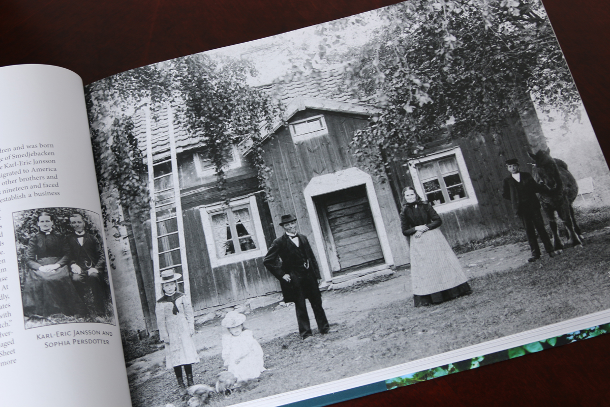 Great family photo of his grandparents, proudly displaying their home in Sweden.