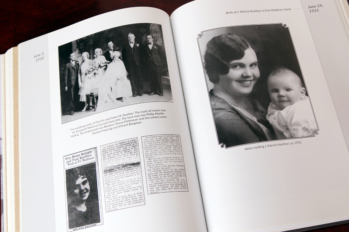 The center section of the book contains a family timeline.
