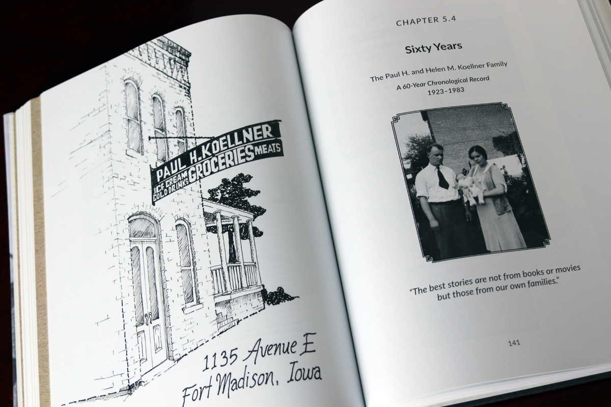 He commissioned charming sketches of the Koellner grocery stores and residences from a local artist.