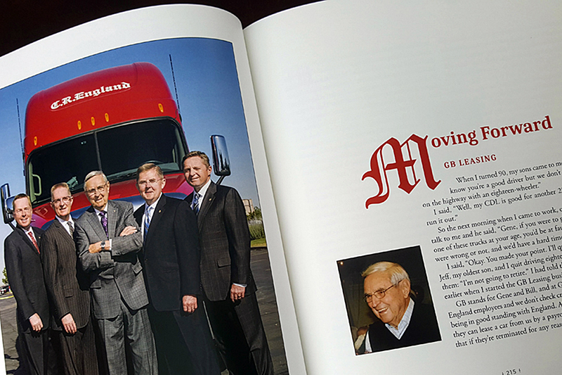 Gene with four of his sons, who now run C.R. England Trucking.
