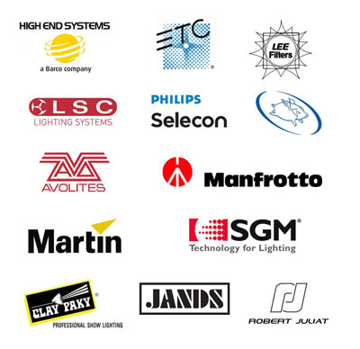 We work with some of the top lighting equipment from brands such as High End, ETC, Martin, LSC, Flying Pig, Avolites, Manfrotto, Jands.