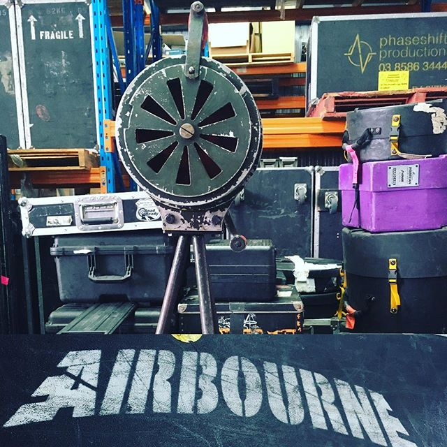 Out on the road with Airbourne this month!  #airbourne #touring #airhorn #whoopwhoop #backline #lighting #stage #live #rocknroll #claypaky #k10beye #stagebars #hazer #fans #strobe #trucking #tourlife #rigging #kabuki