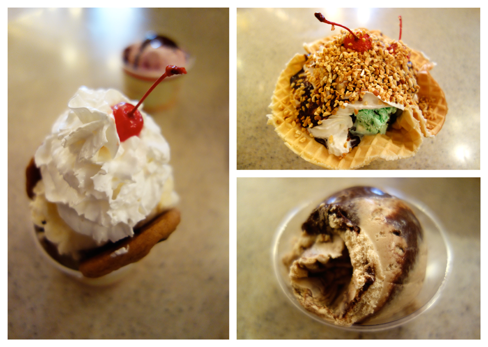 Clockwise starting left: Chocolate Chip Cookie Hot Fudge Sundae, Strawberry Ice Cream with Hot Fudge, Firehouse Dalmatian Mint Sundae and Mocha Almond Fudge Ice Cream.