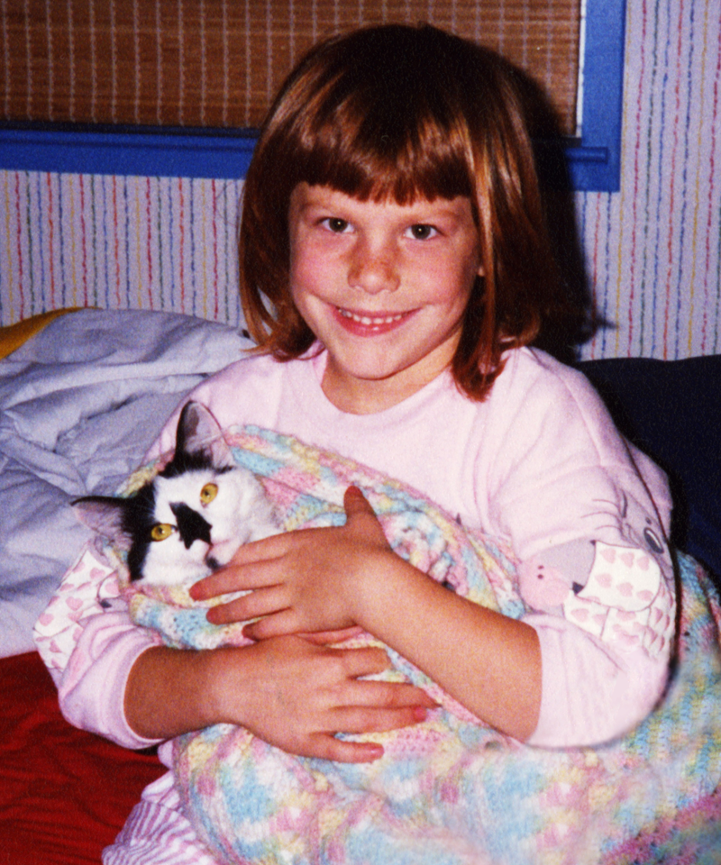 I'm about 4 here, but you get the gist of what 3 year old Courtney looked like. I'm holding my very tolerant cat, Smudgie.